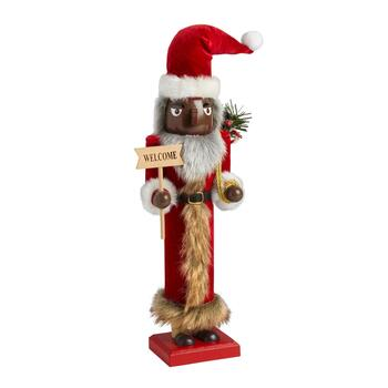 "15"" ""Welcome"" African American Santa Nutcracker"