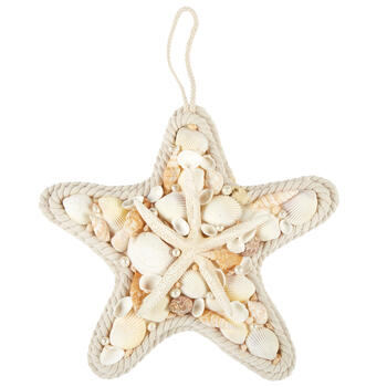 "12"" Coastal Rope Seashell Starfish Ornament view 1"