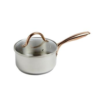 2.3-Quart Stainless Steel Saucepan with Copper Handle