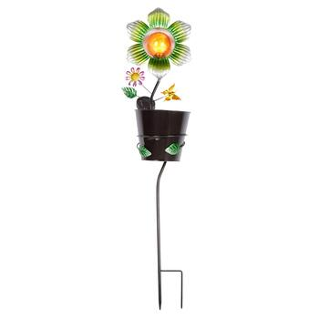 "32"" Green Solar Flower in Planter Bucket Yard Stake"