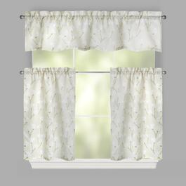 Light Yellow Magnolia Window Tier & Valance Set