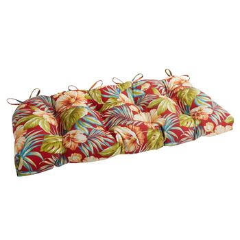 Red Tropical Indoor/Outdoor Double-U Bench Seat Pad