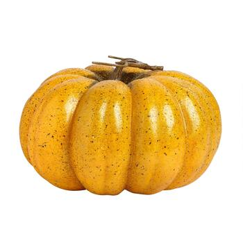 "8.75"" Light Orange Glitter Crackle Pumpkin Decor"