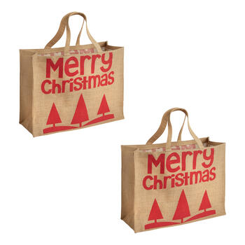 """Merry Christmas"" Trees Burlap Tote Bags, Set of 2 view 1"