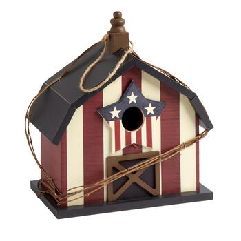 "12"" Patriotic Wood Barn Birdhouse"