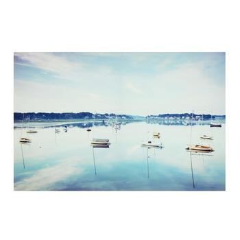 "24""x36"" Boats on the Lake Lacquer Canvas Wall Art"
