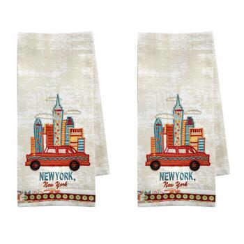 "Embroidered ""New York"" Kitchen Towels, Set of 2"