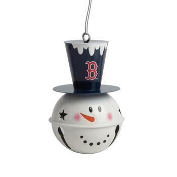 Boston Red Sox Tophat Snowman Jingle Bell Ornament