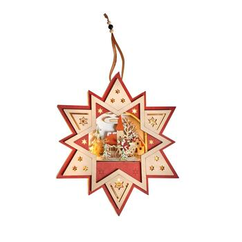 "12"" Santa's Sleigh LED Wood Star Ornament"