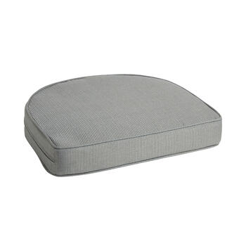 Solid Gray Woven Indoor/Outdoor Gusseted Seat Pad view 1