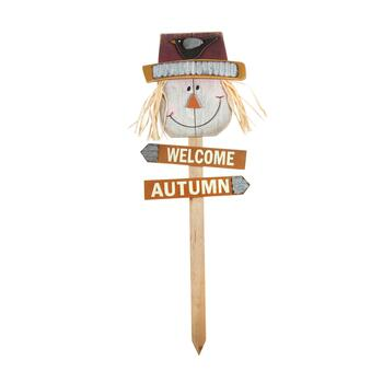"36"" ""Welcome Autumn"" Scarecrow Head Garden Stake"