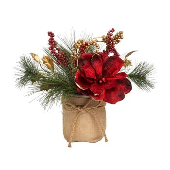 Red/Gold Flower and Berries Artificial Plant in Burlap Sack