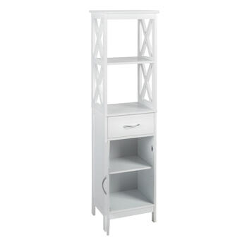 "60.25"" White 1-Drawer/1-Cabinet X-Sided Towel Tower view 2"