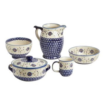 Polish Pottery Floral Peacock Dinnerware
