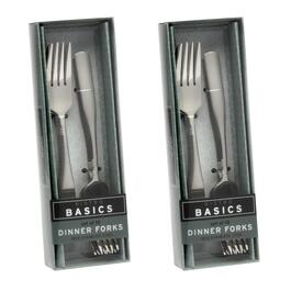 10-Piece Etched Lines Dinner Forks, Set of 2