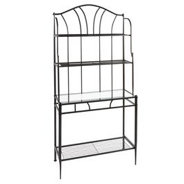 "72"" Black Metal Baker's Rack with Glass Shelf"