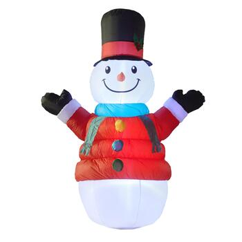 6' Airblown® Inflatable Lighted Puffy Red Coat Snowman