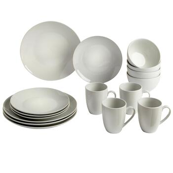 Bistro Basics Porcelain White Coupe Dinnerware Set, 16-Piece