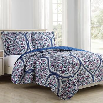 Forest Hills Floral Teardrop Quilt Set, 3-Piece
