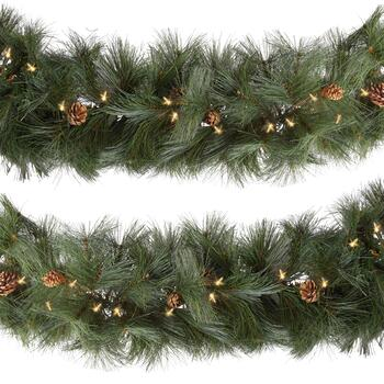 9' White Pre-Lit Artificial Long Needle Evergreen Branch Garlands, Set of 2