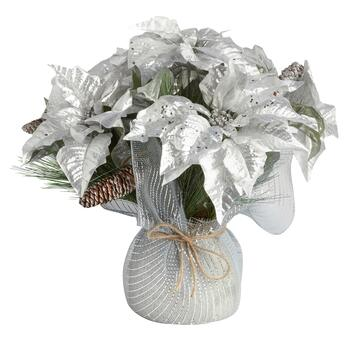 Silver Poinsettia with Tulle Wrapped Pot