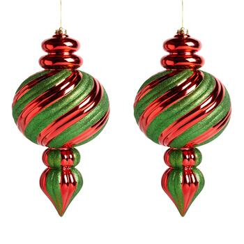 Red/Green Stripe Oversized Rib Finial Ornaments, Set of 2