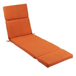 Solid Tangerine Indoor/Outdoor Hinged Chaise Chair Pad