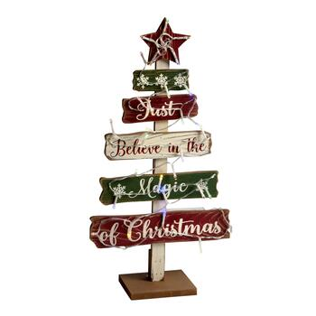 "19.5"" ""Believe in the Magic of Christmas"" LED Tiered Wood Tree"