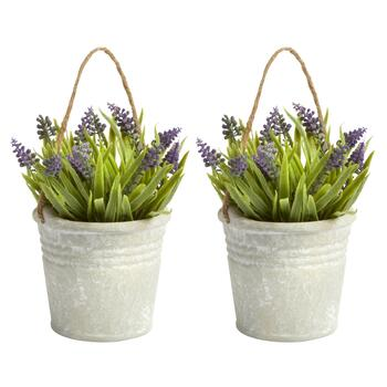 Artificial Potted Flowers in Hanging Pails, Set of 2