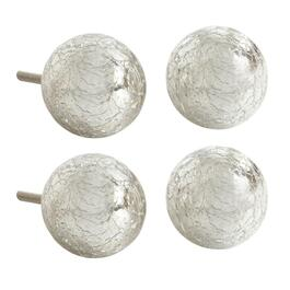 Silver Crackle Round Decorative Furniture Knobs, Set of 4
