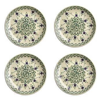Polish Pottery Green Basketweave Salad Plates, Set of 4