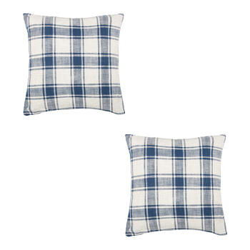 Checkered Feather-Fill Square Throw Pillows, Set of 2 view 1