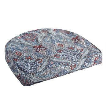 Paisley Blue Indoor/Outdoor Gusset Seat Pad