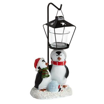 "11.5"" Winter Penguins Lamp Post Tealight Candle Holder"