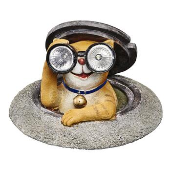 Manhole Cat With Binoculars Solar Garden Accent Christmas Tree Shops And That Home Decor Furniture Gifts Store