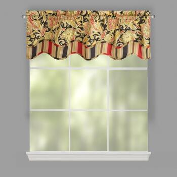 Traditions by Waverly®  Rustic Black Floral Window Valances, Set of 2