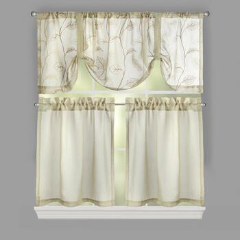 Videira Sheer Leaf Window Tier & Valance Set