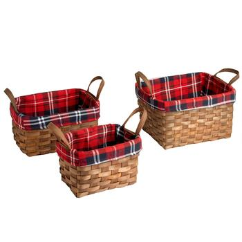 Red Plaid Lined Woven Baskets, Set of 3