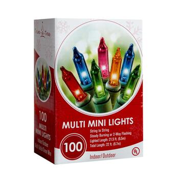 22' Green Wire Multicolor Indoor/Outdoor Mini String Lights, Set of 4 view 2 view 3