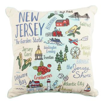 "Grey Whale Outfitters™ ""The Garden State"" New Jersey Square Throw Pillow"