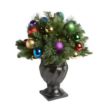 "32"" Clear Lights Holiday Ornaments Urn Decor"