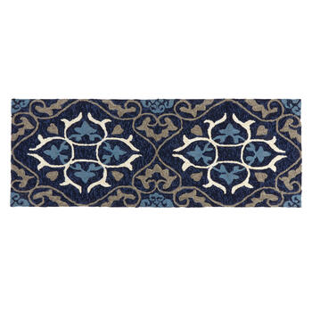 Blue Medallion Hooked All-Weather Area Rug view 3
