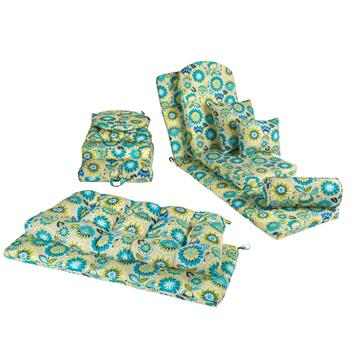 Yellow/Blue Floral Indoor/Outdoor Cushions