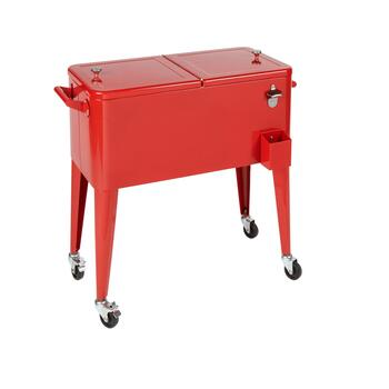 80-Quart Rolling Metal Cooler with Stand