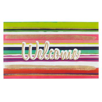 """Welcome"" Multicolor Stripe All-Weather Door Mat"
