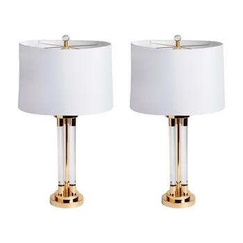 "29"" Crystal Cylinder Table Lamp, Set of 2"