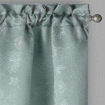 Evolution Teal Floral Rod Pocket Window Curtains, Set of 2