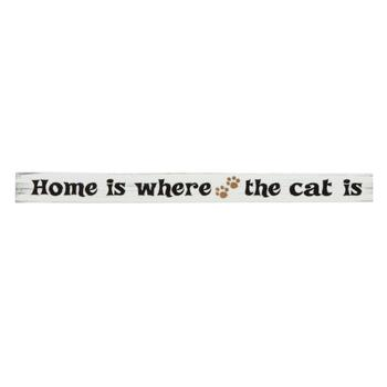 "18"" ""Home is Where the Cat Is"" Wood Sitter Sign"
