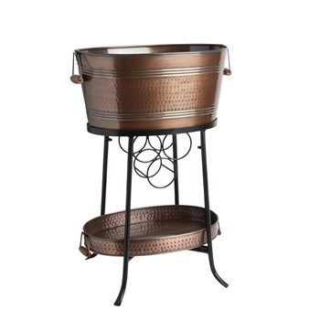 "20"" Metal Beverage Tub with Tray and Stand"