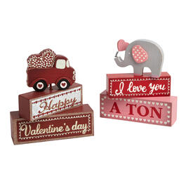 """I Love You a Ton"" Wood Block Sitters, Set of 2 view 1"